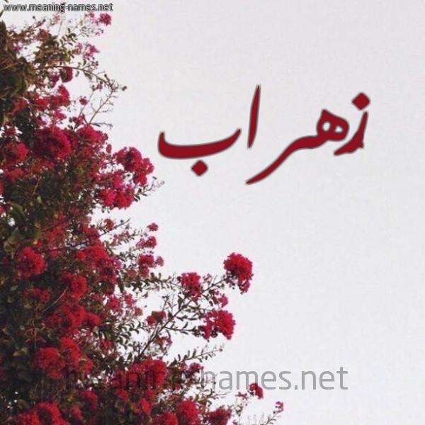 صورة اسم زُهراب ZOHRAB شكل 18 صوره الورد الأحمر للإسم بخط رقعة