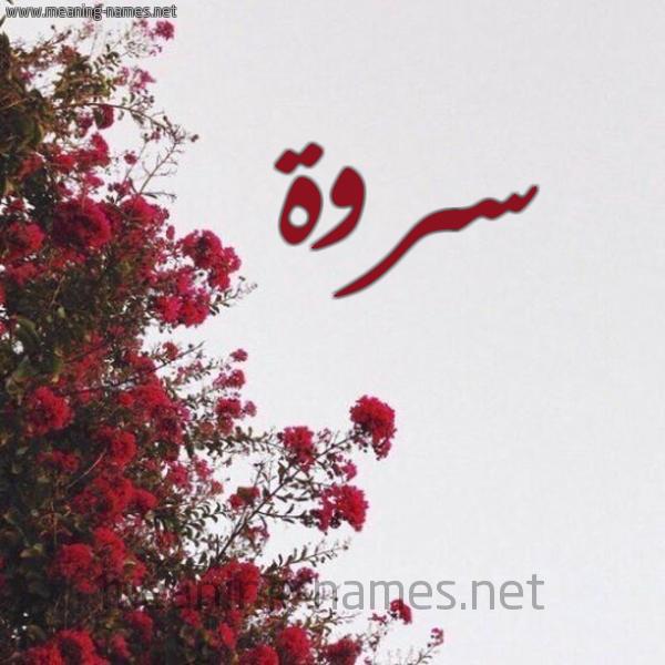 صورة اسم سروة SROH شكل 18 صوره الورد الأحمر للإسم بخط رقعة