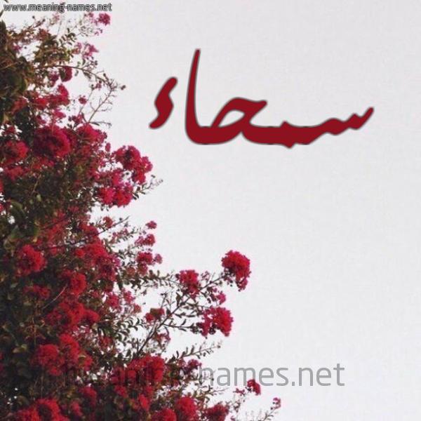 صورة اسم سمحاء Smha'a شكل 18 صوره الورد الأحمر للإسم بخط رقعة