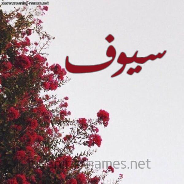 صورة اسم سيوف Sywf شكل 18 صوره الورد الأحمر للإسم بخط رقعة