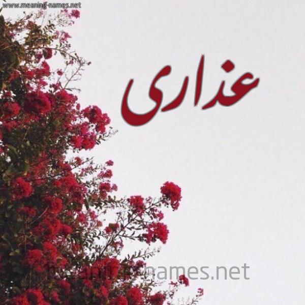 صورة اسم عذارى Adhara شكل 18 صوره الورد الأحمر للإسم بخط رقعة
