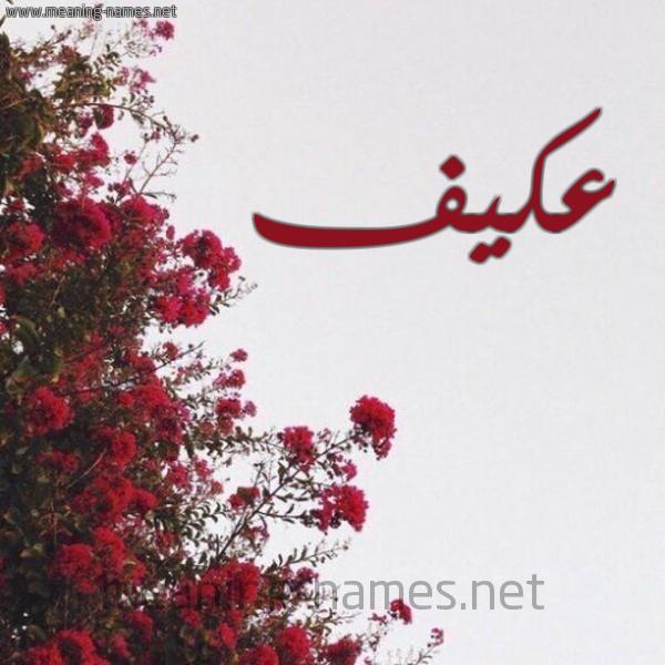 صورة اسم عكيف Akyf شكل 18 صوره الورد الأحمر للإسم بخط رقعة