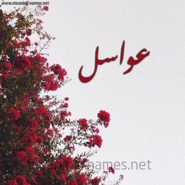 صورة اسم عواسل Awasl شكل 18 صوره الورد الأحمر للإسم بخط رقعة