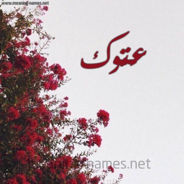 صورة اسم عَتُّوك AATOOK شكل 18 صوره الورد الأحمر للإسم بخط رقعة