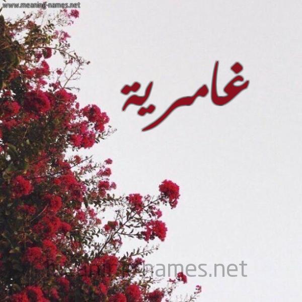 شكل 18 صوره الورد الأحمر للإسم بخط رقعة صورة اسم غامرية Ghamryh