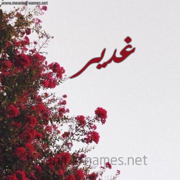 صورة اسم غدير Ghdyr شكل 18 صوره الورد الأحمر للإسم بخط رقعة