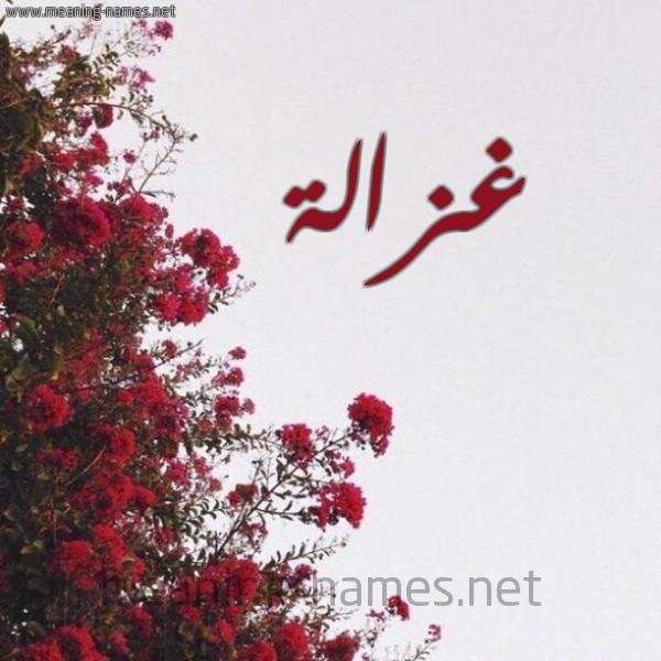 صورة اسم غزالة Ghzalh شكل 18 صوره الورد الأحمر للإسم بخط رقعة