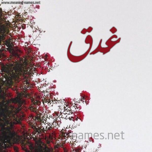 شكل 18 صوره الورد الأحمر للإسم بخط رقعة صورة اسم غَدَق GHADAQ