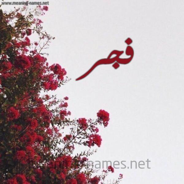 صورة اسم فجر Fajr شكل 18 صوره الورد الأحمر للإسم بخط رقعة