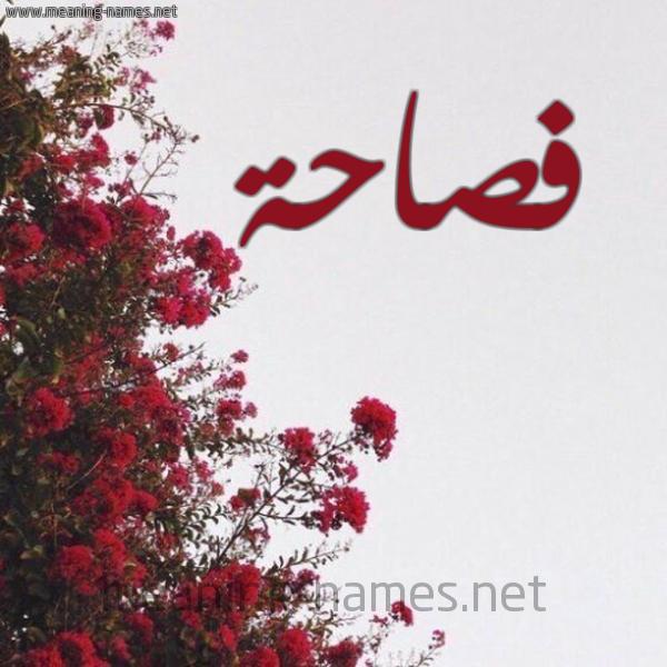 شكل 18 صوره الورد الأحمر للإسم بخط رقعة صورة اسم فصاحة Fsahh