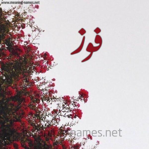 صورة اسم فوز Fwz شكل 18 صوره الورد الأحمر للإسم بخط رقعة