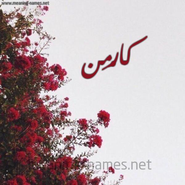 صورة اسم كارْمِن Karmen شكل 18 صوره الورد الأحمر للإسم بخط رقعة