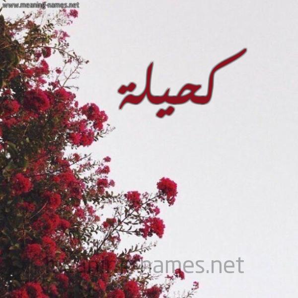 صورة اسم كحيلة Kahela شكل 18 صوره الورد الأحمر للإسم بخط رقعة