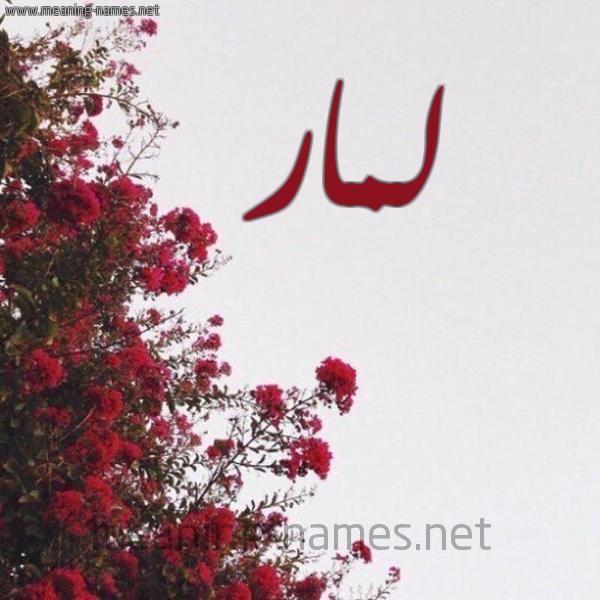 صورة اسم لمار Lmar شكل 18 صوره الورد الأحمر للإسم بخط رقعة