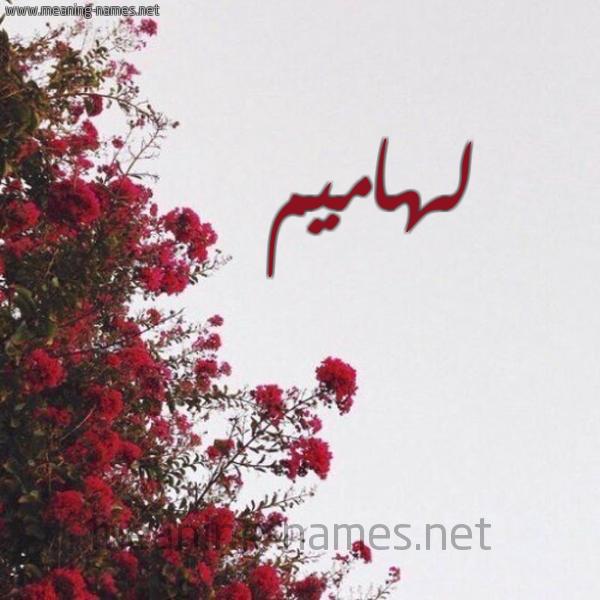 صورة اسم لهاميم Lhamym شكل 18 صوره الورد الأحمر للإسم بخط رقعة