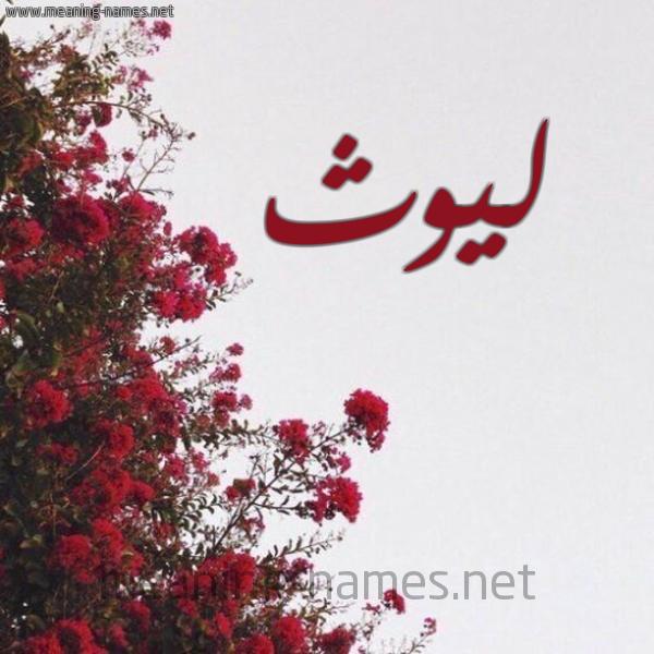 صورة اسم ليوث Lywth شكل 18 صوره الورد الأحمر للإسم بخط رقعة
