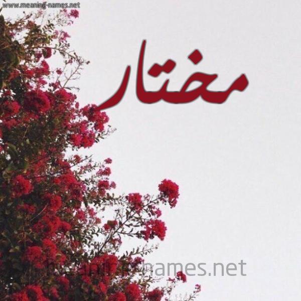 صورة اسم مختار Mokhtar شكل 18 صوره الورد الأحمر للإسم بخط رقعة