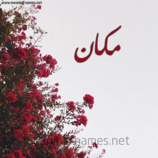 صورة اسم مكان Mkan شكل 18 صوره الورد الأحمر للإسم بخط رقعة