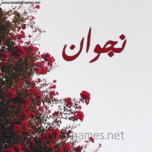 صورة اسم نجوان Ngwan شكل 18 صوره الورد الأحمر للإسم بخط رقعة