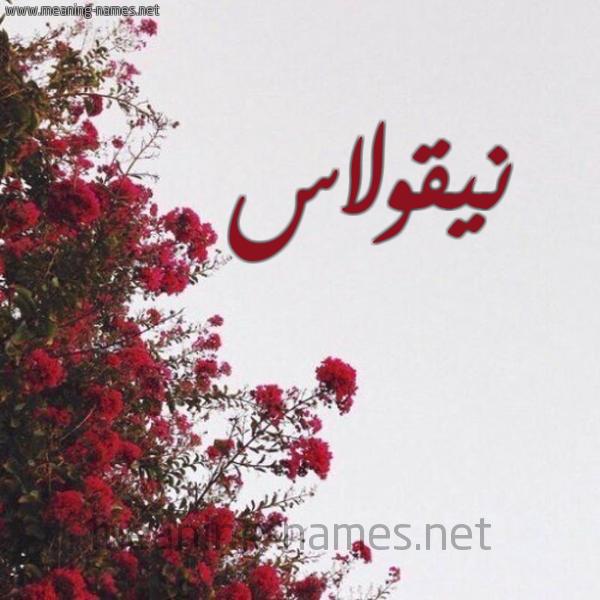 صورة اسم نيقولاس NIQOLAS شكل 18 صوره الورد الأحمر للإسم بخط رقعة
