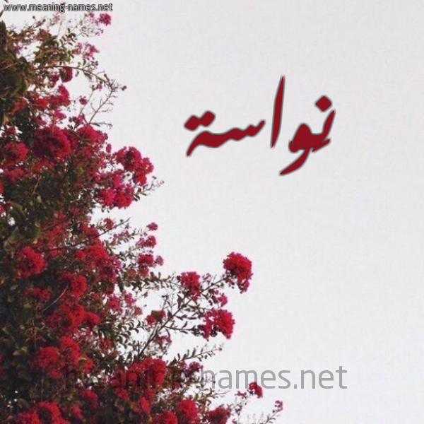 صورة اسم نَوّاسة NAOASH شكل 18 صوره الورد الأحمر للإسم بخط رقعة