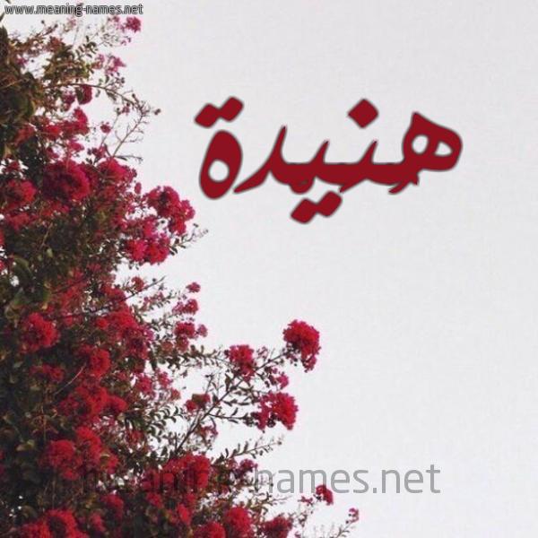 صورة اسم هُنَيْدة Honidah شكل 18 صوره الورد الأحمر للإسم بخط رقعة