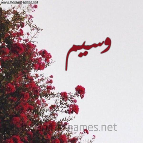 صورة اسم وسيم Wasem شكل 18 صوره الورد الأحمر للإسم بخط رقعة