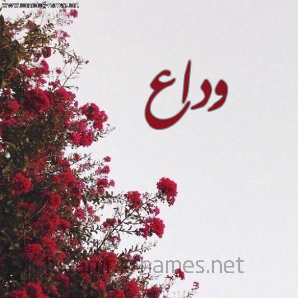صورة اسم وَداع OADAA شكل 18 صوره الورد الأحمر للإسم بخط رقعة