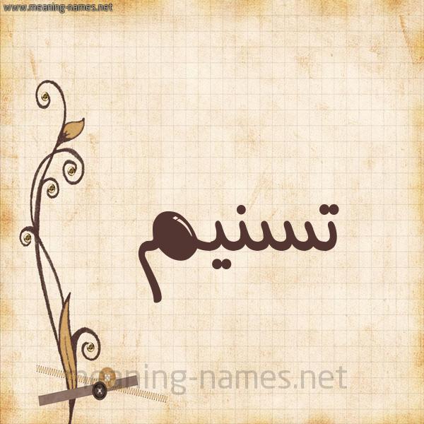 شكل 6 صوره ورق كلاسيكي للإسم بخط عريض صورة اسم تسنيم Tsnym