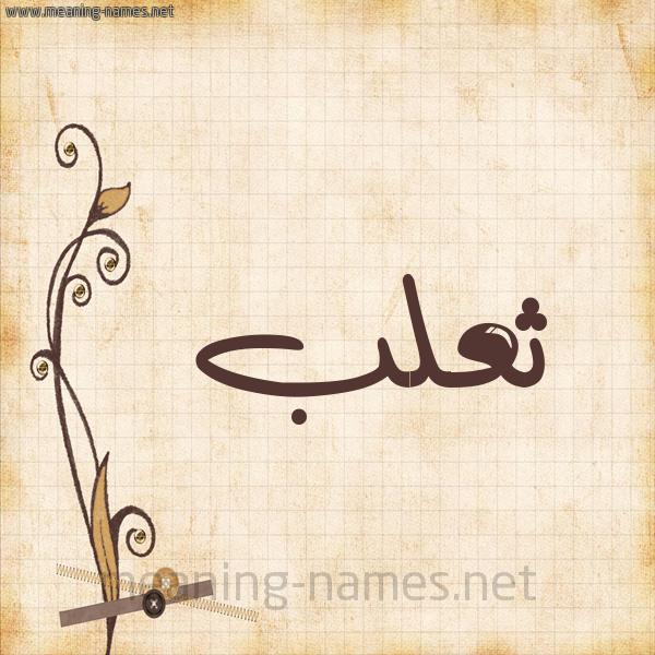 شكل 6 صوره ورق كلاسيكي للإسم بخط عريض صورة اسم ثعلب THALB