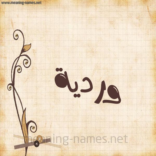 شكل 6 صوره ورق كلاسيكي للإسم بخط عريض صورة اسم وردية WARDIA