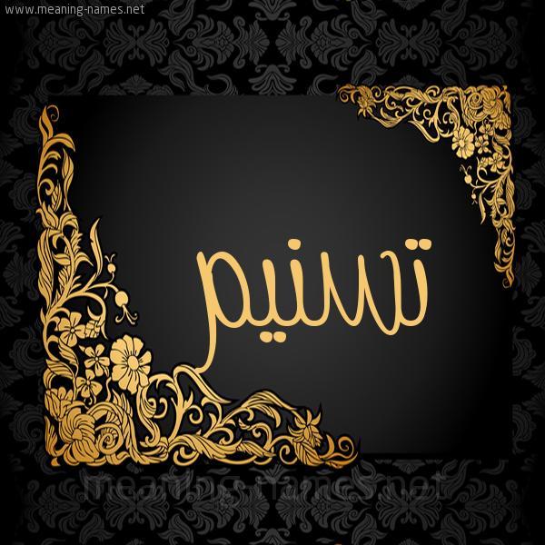 صورة اسم تسنيم Tsnym شكل 7 صوره اطار ذهبي مزخرف للإسم بخط عريض
