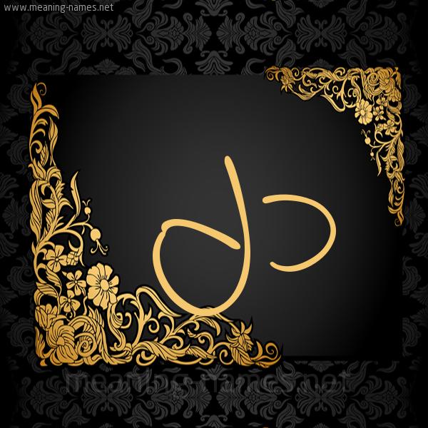 صورة اسم دل Dl شكل 7 صوره اطار ذهبي مزخرف للإسم بخط عريض