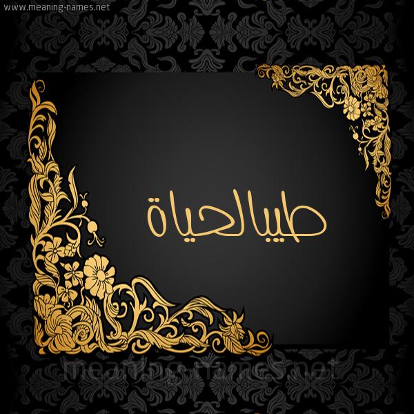صورة اسم طيبالحياة Tybalhyah شكل 7 صوره اطار ذهبي مزخرف للإسم بخط عريض