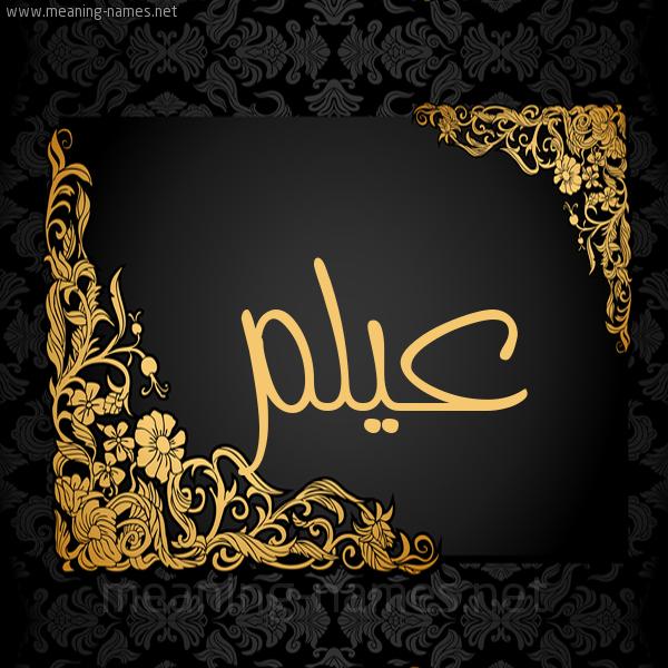 شكل 7 صوره اطار ذهبي مزخرف للإسم بخط عريض صورة اسم عيلم Aylm