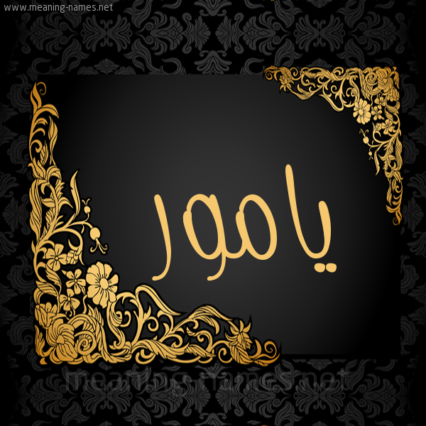 صورة اسم يامور Yamor شكل 7 صوره اطار ذهبي مزخرف للإسم بخط عريض