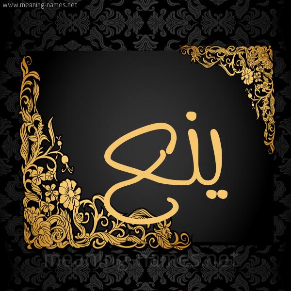 صورة اسم ينع Yn' شكل 7 صوره اطار ذهبي مزخرف للإسم بخط عريض