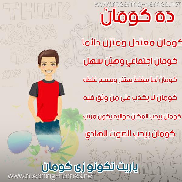 صورة اسم كومان KOMAN صور أسماء أولاد وصفاتهم