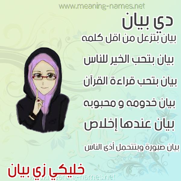 صورة اسم بيان Byan صور اسماء بنات وصفاتهم