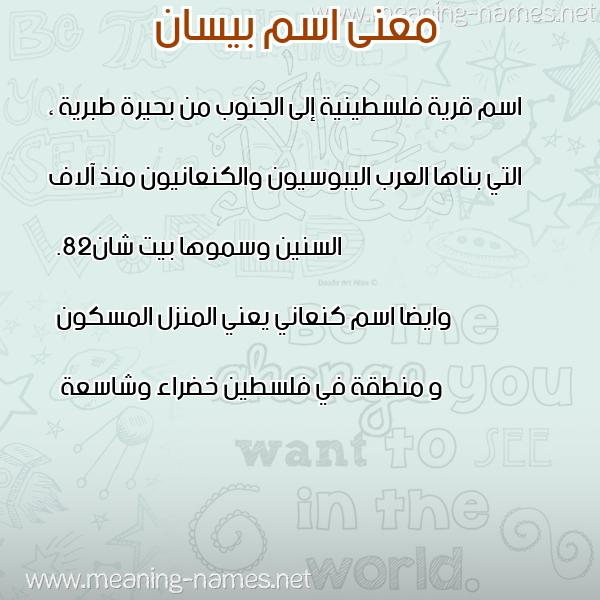 معاني الأسماء على صورة صورة اسم بيسان Besan