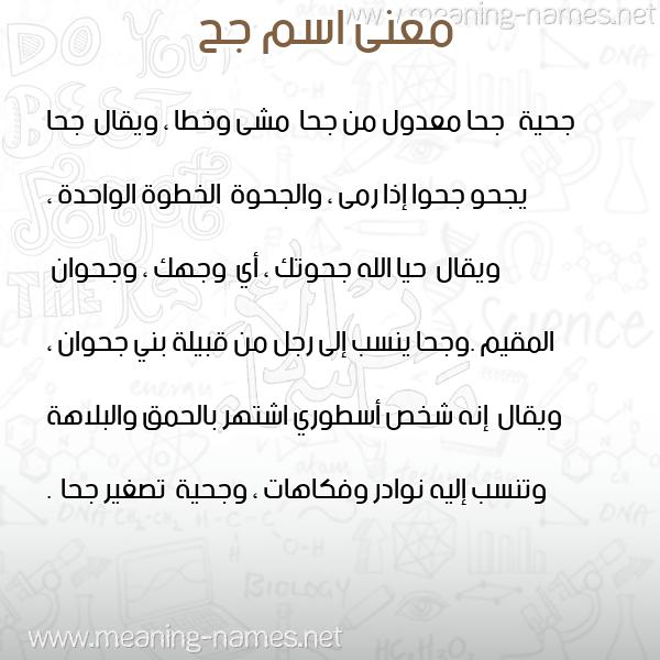 صورة اسم جح GH معاني الأسماء على صورة