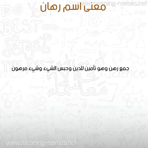صورة اسم رهان RHAN معاني الأسماء على صورة