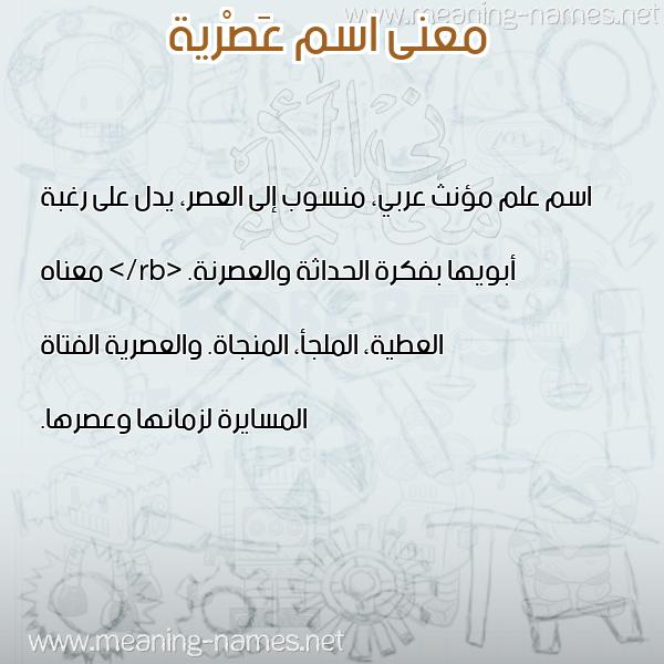 معاني الأسماء على صورة صورة اسم عَصْرية AASRIH