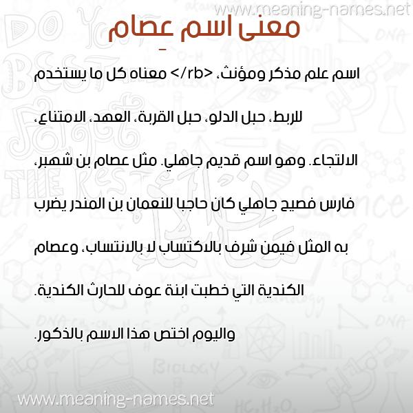 صورة اسم عِصام AESAM معاني الأسماء على صورة