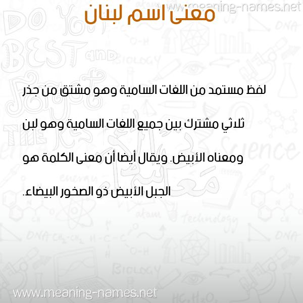 صورة اسم لبنان Lebanon معاني الأسماء على صورة